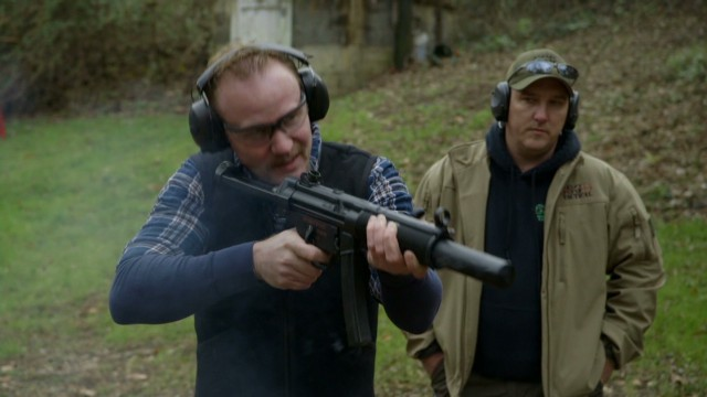 Morgan Spurlock visits a firing range