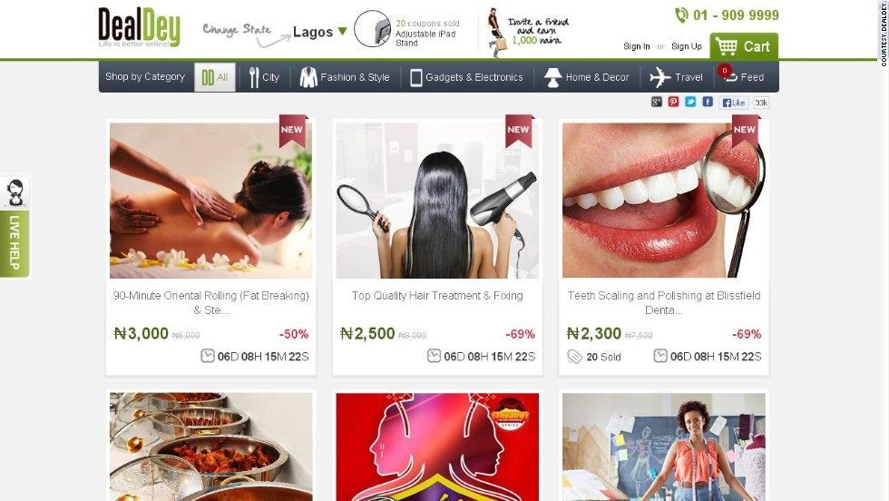 """One of the best-designed deal sites out there, <a href=""http://www.dealdey.com/"" target=""_blank""><strong>Dealdey</a></strong> claims to have 350,000 subscribers and to be one of the top-grossing ecommerce sites in Nigeria. A Groupon clone, yes, but one that seems to be thriving quite well in a young ecommerce market."""
