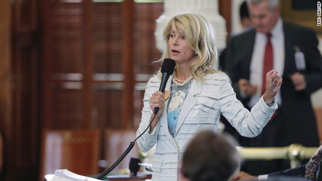 Texas state Sen. Wendy Davis begins a filibuster in an effort to kill a bill that would ban abortion after 20 weeks of pregnancy.