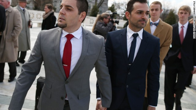 Plaintiffs Jeff Zarrillo and Paul Katami attended oral arguments at the Supreme Court in March.