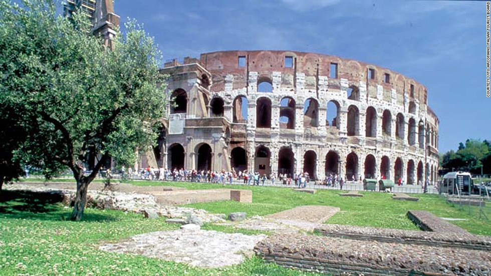 The Colosseum could accommodate 50,000 spectators.<br />It's the largest amphitheater built by the Roman empire. It's estimated that the outer wall, which is 189 meters long and 156 meters wide, was originally built using 100,000 cubic meters of travertine stone. Some of this stone was later used in the construction of St Peter's Basilica and other nearby monuments. <strong>Completion date:</strong> 80 AD.