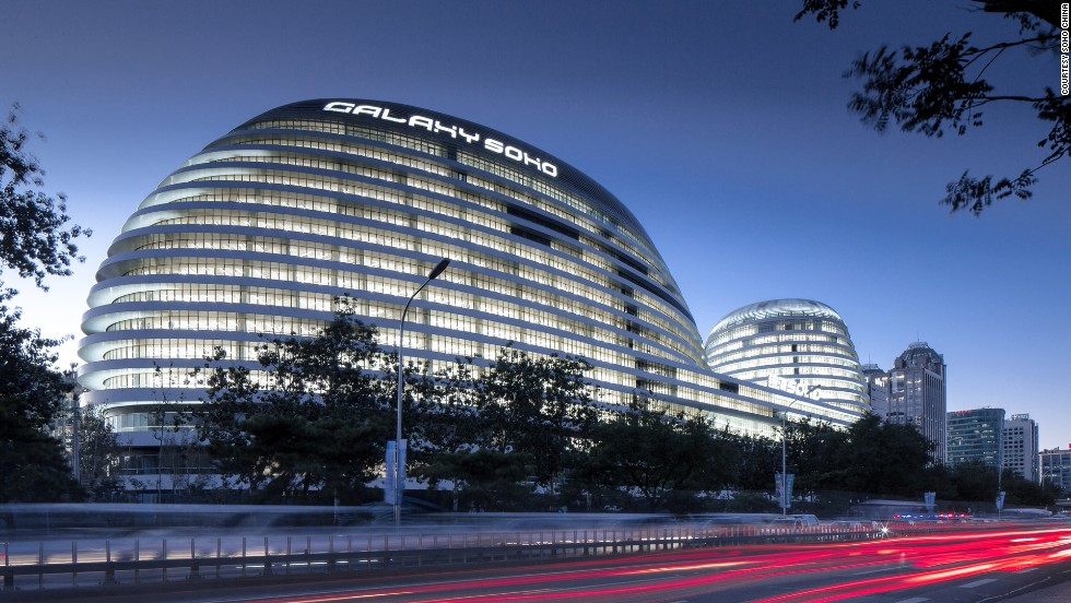 Galaxy SOHO, designed by Pritzker Prize winning architect Zaha Hadid for Zhang' SOHO China, was built in 2012 on a 50,000 square meter plot in central Beijing. It was Hadid's first building in Beijing.