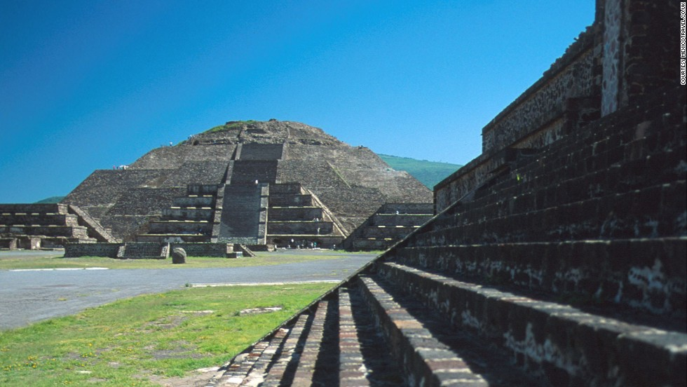 """Teotihuacan is an Aztec name meaning """"the place where men become Gods.""""<br />It was the largest city in the pre-Columbian Americas. The most famous structure is the Pyramid of the Sun, which was built in two phases. The second phase took its height to 224 meters, making it the third-tallest pyramid in the world. The entire city originally covered around 20 square kilometers (eight square miles) and was home to 2,200 structures, built with stone and lime plaster. <strong>Completion date:</strong> 100 BC."""
