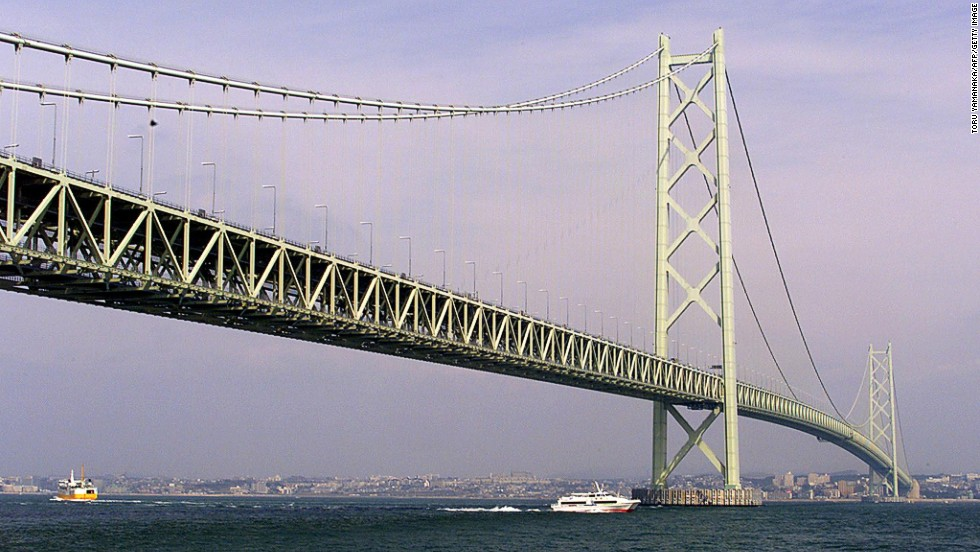 It took 2 million workers 10 years to construct the Akashi Kaikyo Bridge. <br />It connects the city of Kobe, on Japan's mainland, with Iwaya on Awaji Island. Before it opened, the only way to get between the two cities was by ferry. However, the waterway was prone to severe storms and when two ferries capsized in 1955, killing 168 people, public outrage convinced the government of the need for a bridge. It's the longest suspension bridge in the world, with a length of 1,991 meters. <strong>Completion date: </strong>April 5, 1998.