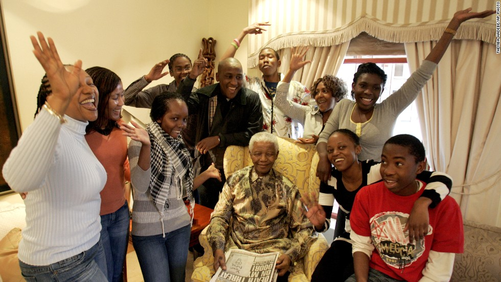 Mandela spends his 90th birthday surrounded by family at his home in Qunu, South Africa, in 2008.