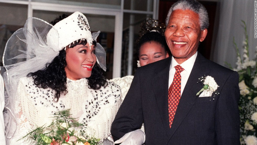 Nelson Mandela with his daughter Zindzi Mandela at her 1992 wedding in Soweto.