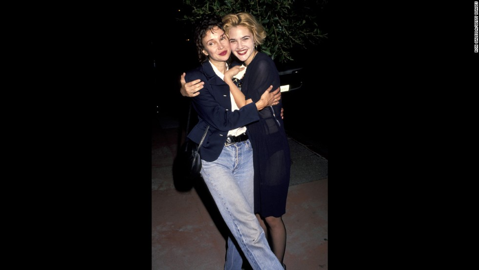 "Drew Barrymore hugs her mom, Jaid Barrymore, in 1991. Drew was 6 years old when she starred as Gertie in Steven Spielberg's ""E.T."" With early fame came misfortune: Drew had her first drink when she was 9 and went to rehab at 13. She was granted legal emancipation from her parents when she was 15, after citing her mother as a bad influence."