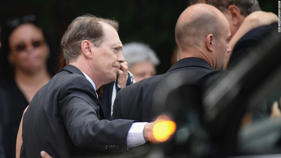"""Steve Buscemi, who was on the cast of """"The Sopranos,"""" arrives at the funeral."""