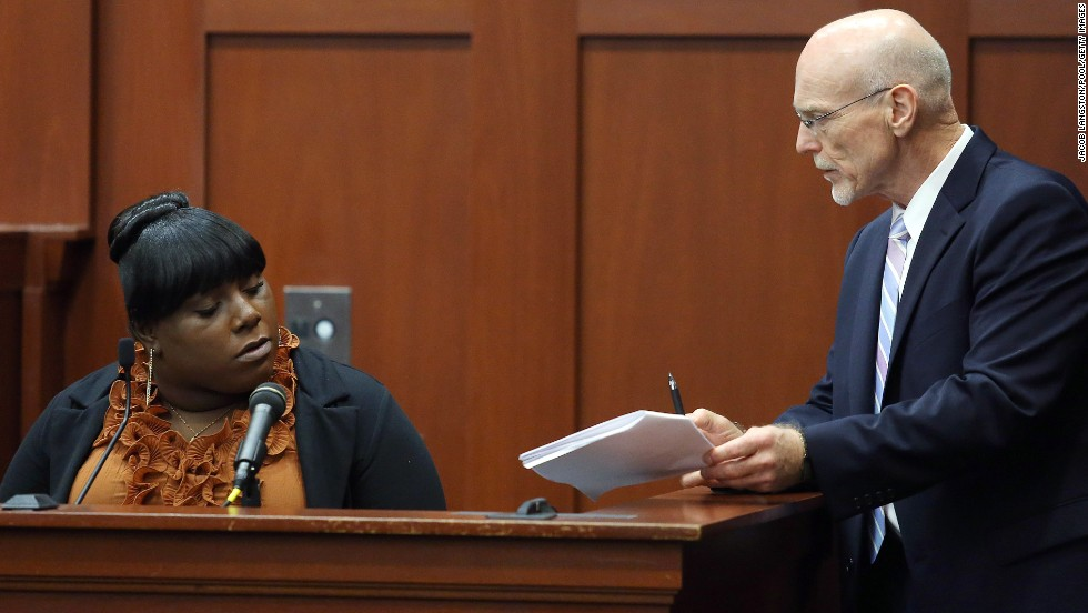 "<a href=""http://www.cnn.com/2013/06/27/opinion/zimmerman-jeantel/index.html"">Rachel Jeantel</a>, a friend of Martin's, is questioned by defense attorney Don West on June 27. She appeared to get frustrated several times during the cross-examination, including one time when West suggested they could break until the morning so she'd have more time to review the deposition transcript."