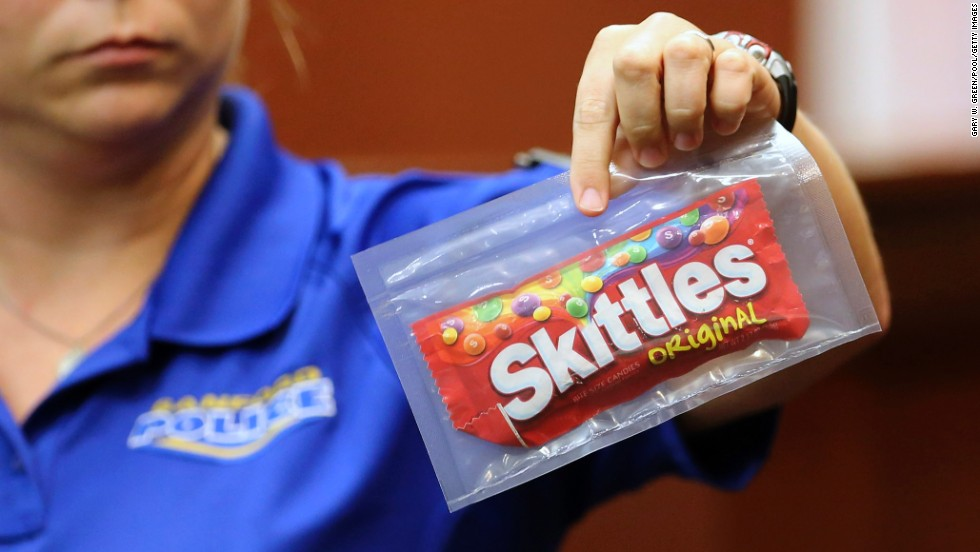 Diana Smith of the Sanford Police Department on Tuesday, June 25, shows the jury a bag of Skittles that was collected as evidence at the crime scene. Martin was said to be carrying the bag of candy and a soft drink at the time of his death.