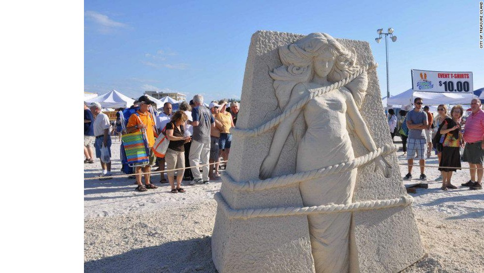 "Each weekend before Thanksgiving, Treasure Island, Florida, hosts its <a href=""http://www.mytreasureisland.org/sandingovations2013.htm"" target=""_blank"">Sanding Ovations Masters Cup Sand Sculpting Competition</a>. In 2012, ""Release,"" by Suzanne Ruseler of North Holland, Netherlands, won 3rd place."