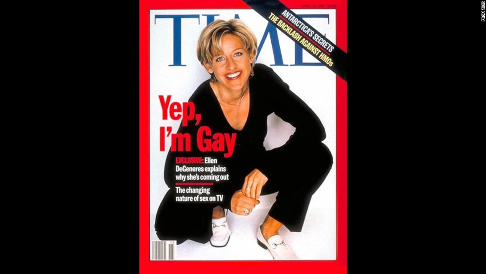Some television networks pulled Ellen DeGeneres' show after Time released its April 17, 1997, cover revealing her sexual orientation.
