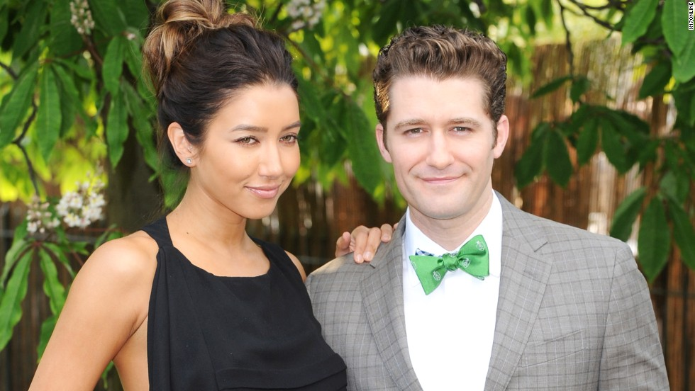 Matthew Morrison and his new fiancée Renee Puente stop for photos at the Serpentine Gallery summer party in London on June 26.