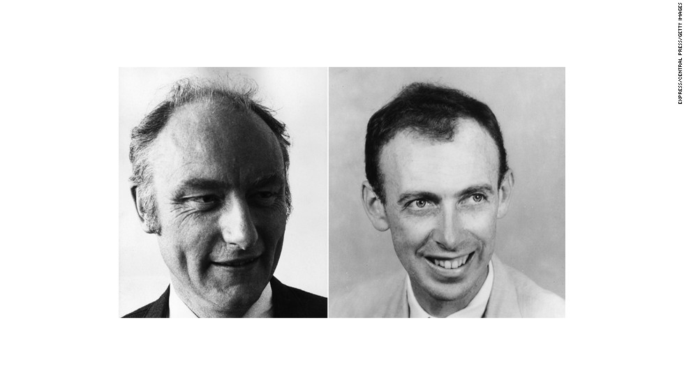 Francis Crick, left, and James Watson, right, discovered the double helix structure of DNA in 1953. They were awarded a Nobel Prize for the work in 1962, along with Maurice Wilkins.