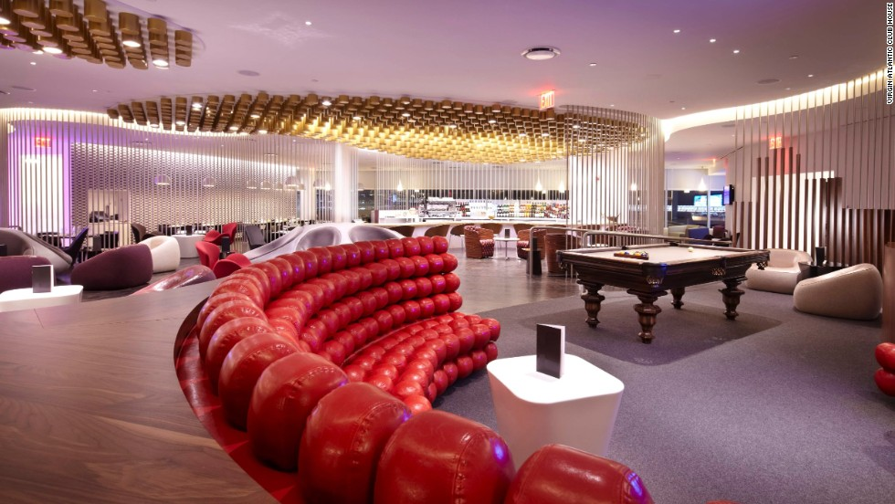 If Richard Branson ran JFK, this is what it'd look like. Actually, it already does. At least in Virgin Atlantic's corner of the place, complete with a pool table.
