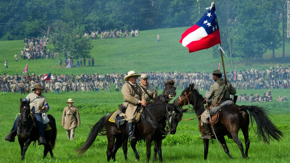Confederate officers give orders while advancing on Union positions on June 28.