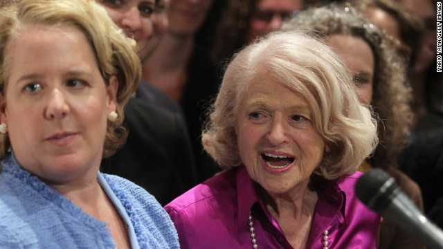 Edie Windsor, right, talks to the press with her attorney Roberta Kaplan after the Supreme Court ruled against DOMA.