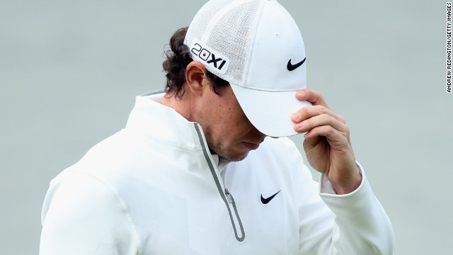 Rory Mcilroy looks dejected as he contemplates an early exit from the Irish Open at Carton House.