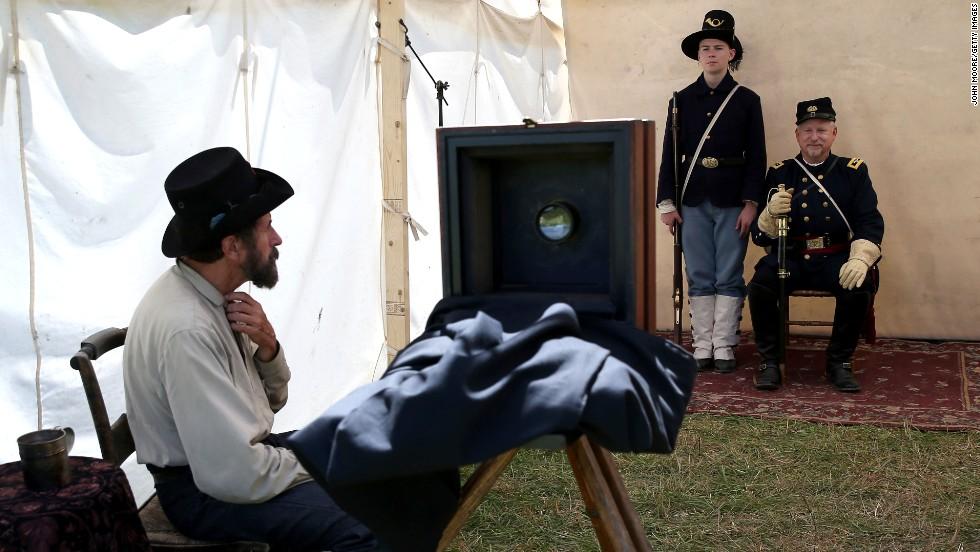 Civil War reenactors pose for a portrait in Gettysburg on June 29.