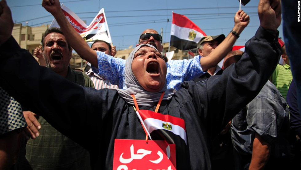 Morsy opponents protest outside the presidential palace in Cairo on June 30.
