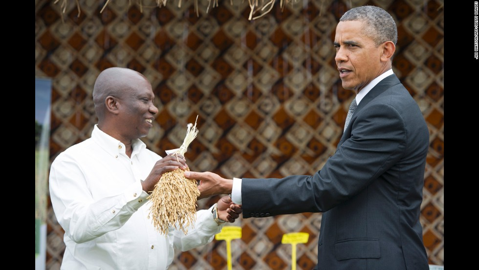Obama shows the White House press corps what rice looks like before it's threshed on June 28 in Dakar.