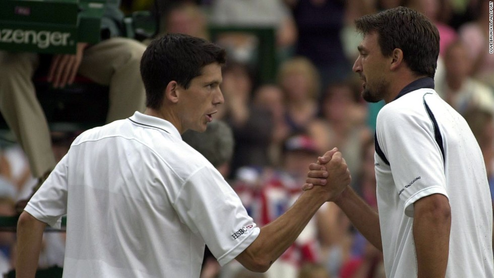 As popular as Ivanisevic was, not many on Centre Court were rooting for him in the semifinals against Britain's Tim Henman. A rain delay helped Ivanisevic rally to win in five sets, with Henman never appearing in a Wimbledon final.