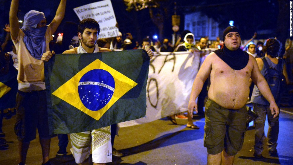 The mood on the streets of Rio de Janeiro remained hostile as Brazil and Spain took to the pitch.