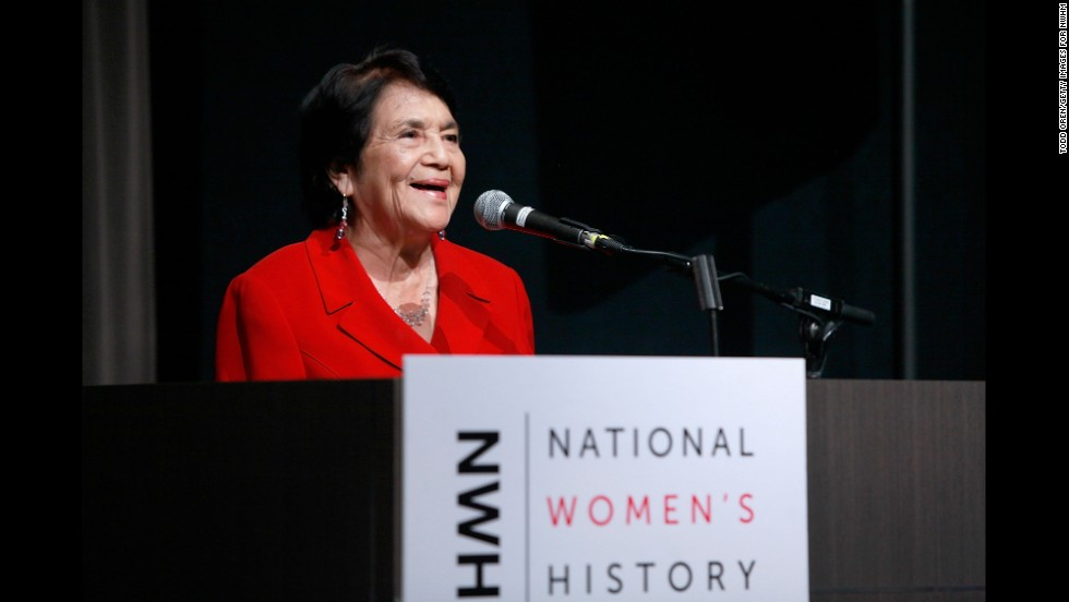 Huerta speaks at the National Women's History Museum during an event honoring Huerta and Jennifer Siebel Newson on October 25, 2012, in Los Angeles.