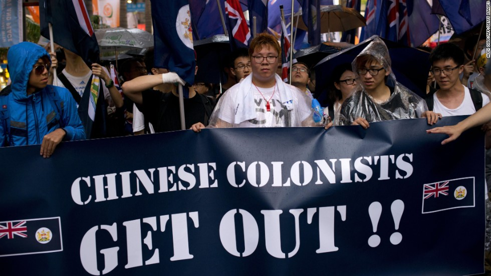 Some protesters carried British flags from the colonial era of Hong Kong.