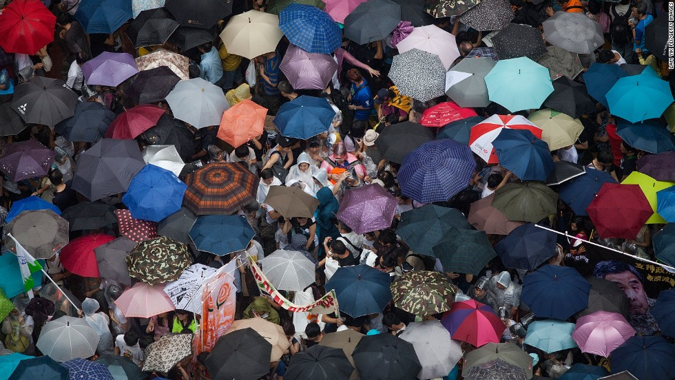 The city was under a typhoon alert, and at times, protesters had to deal with heavy rain during the 6.5 hour march.