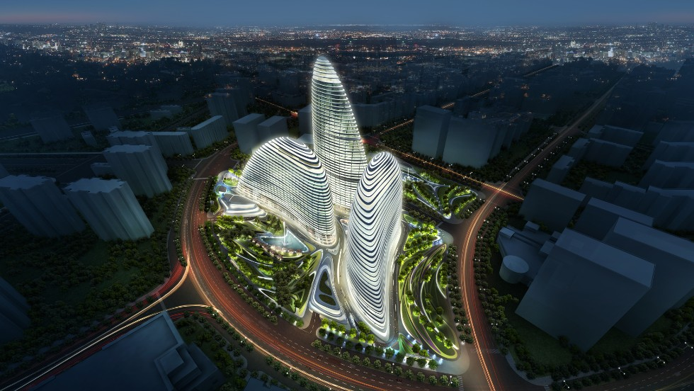 The design of SOHO Peaks, by architect Zaha Hadid, is based on Chinese fans that circle and embrace each other.