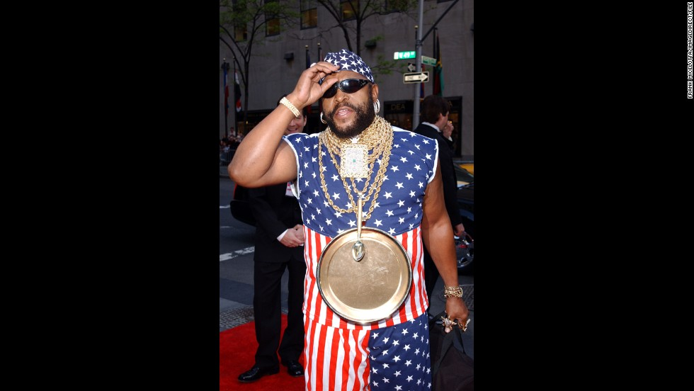 "Mr. T of ""The A-Team"" fame accessorizes his star-spangled jumpsuit in honor of NBC's 75th anniversary celebration in May 2002."