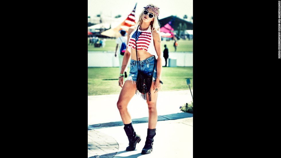 Ireland Baldwin, daughter of Alec Baldwin and Kim Basinger, gives the flag a saucy-style upgrade for the Coachella Valley Music & Arts Festival in April in Indio, California.