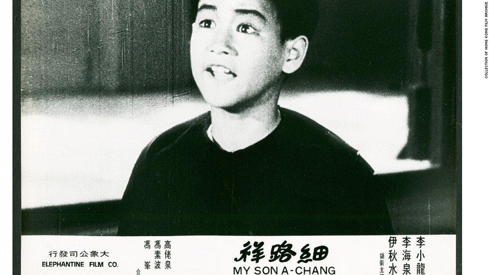 "Having a father in the entertainment business, Lee started in the film industry when he was still a baby. By the age of 18 he'd starred in 20 films. This poster is from the 1950 Hong Kong film ""The Kid"" (or ""My Son A-Chang"") in which Lee had his first leading role."