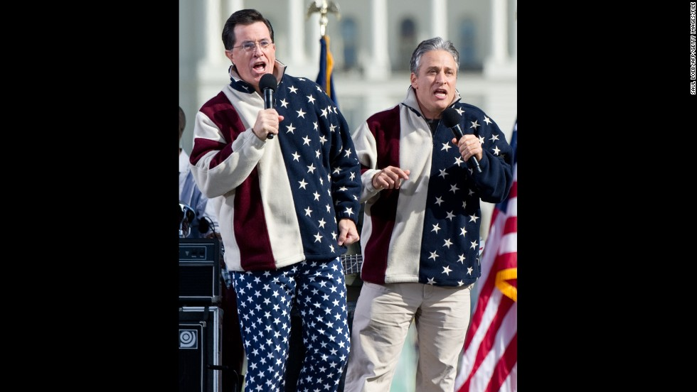 """The stars and stripes are in abundance for Stephen Colbert and Jon Stewart's """"Rally to Restore Sanity and/or Fear"""" at the National Mall in Washington in October 2010."""