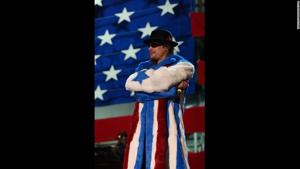 Kid Rock doesn't break a sweat in a star-spangled fur coat at Ramstein Air Base in Germany in 2001.