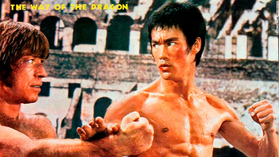 "Bruce Lee in ""The Way of the Dragon"" with American actor, Chuck Norris."