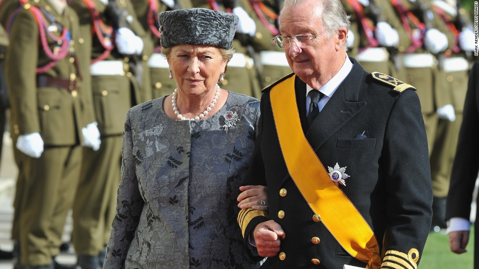 Queen Paola and King Albert II in Luxembourg after the wedding  of that nation's Prince Guillaume of and Princess Stephanie on October 20, 2012.
