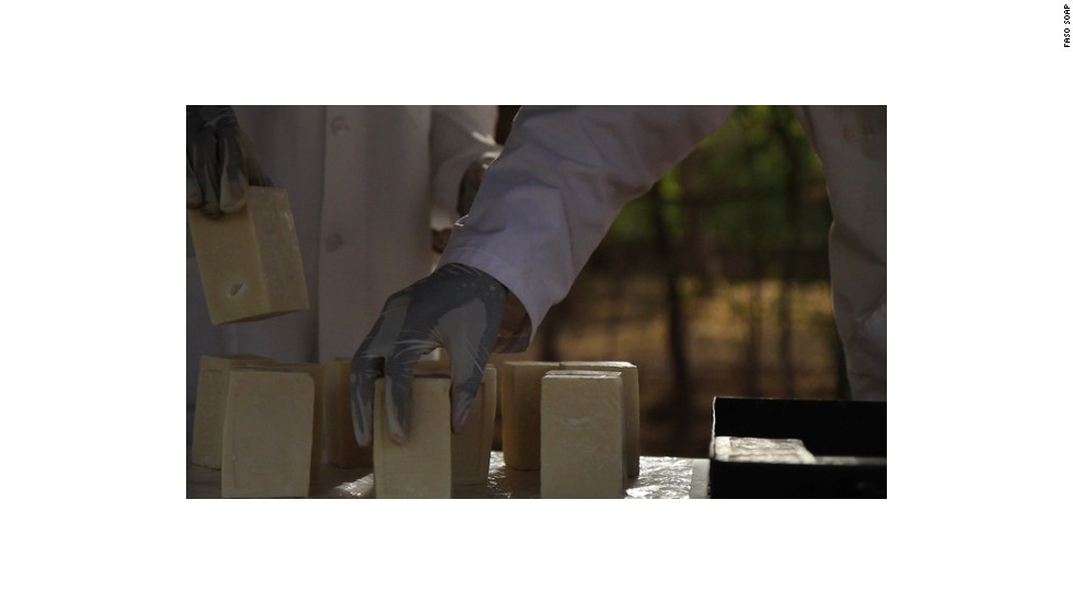 The soap is made from Shea butter, essential lemongrass oil and other secret ingredients.