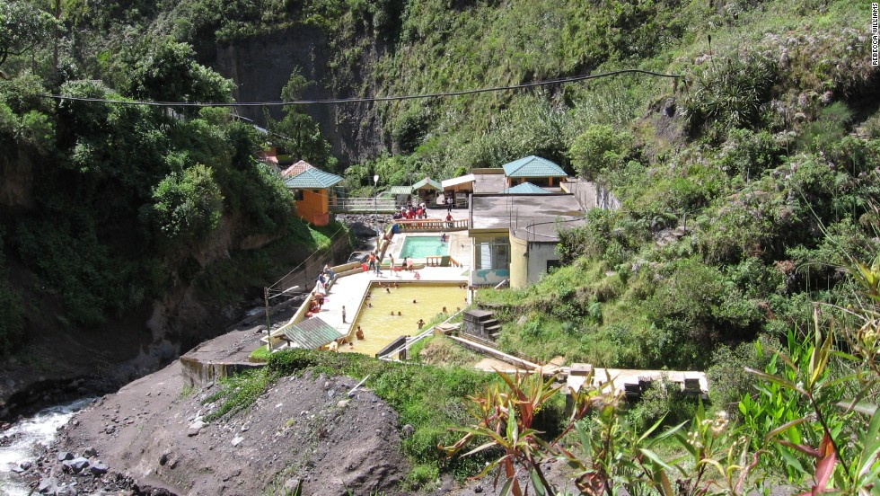 "Tungurahua's ""lahars"" or mud flows threatened the El Salado Baths in the town of Banos in 2005, says volcanologist Rebecca Williams.<br />"