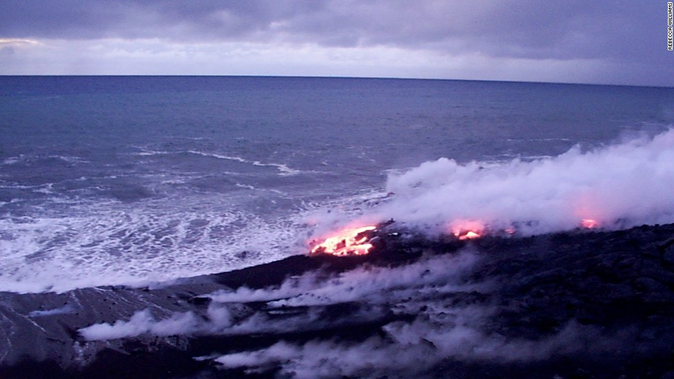 Lava flows into the ocean from Kilauea, the youngest of the volcanoes on Hawaii's Big Island.