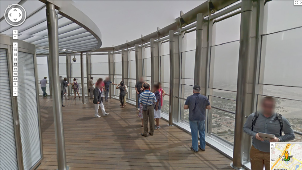 Users can wander through the building from the lower levels up to the observation deck on the 124th floor. The tools for navigating through the building will be familiar to anyone who has used Google Street View. But on the left-hand side of the screen there is an extra widget which allows users to select the floor they wish to explore.