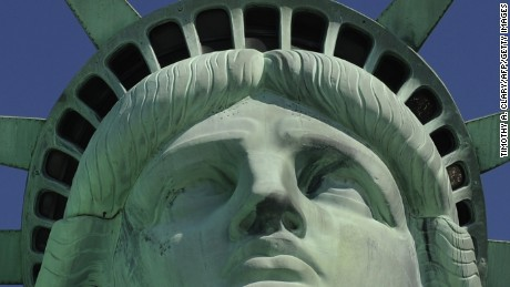 The front of the Statue of Liberty is viewed during a media tour to the crown on May 20, 2009 in New York. On July 4, 2009  the  statue's crown will be reopened for the first time since the September 1, 2001 attacks on the World Trade Center. AFP PHOTO / TIMOTHY A. CLARY (Photo credit should read TIMOTHY A. CLARY/AFP/Getty Images)
