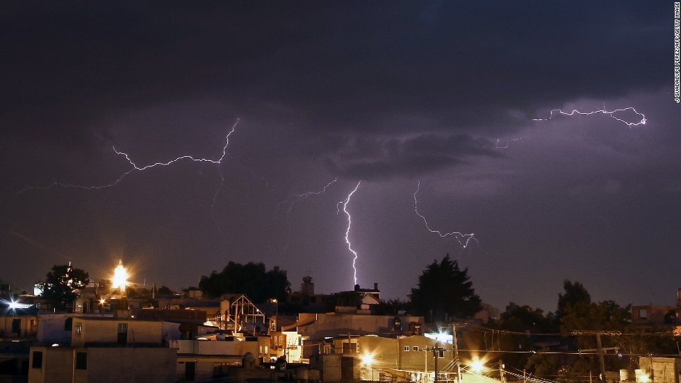 A lightning strikes the San Nicolas Panotla community in the state of Tlaxcala, Mexico, on Tuesday, July 2.