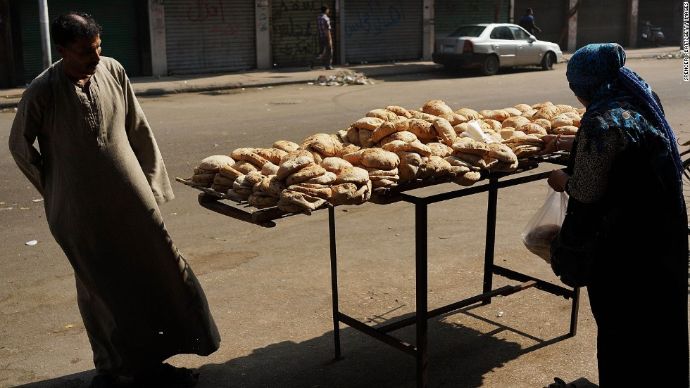 Bread is sold near Tahrir Square on July 4.