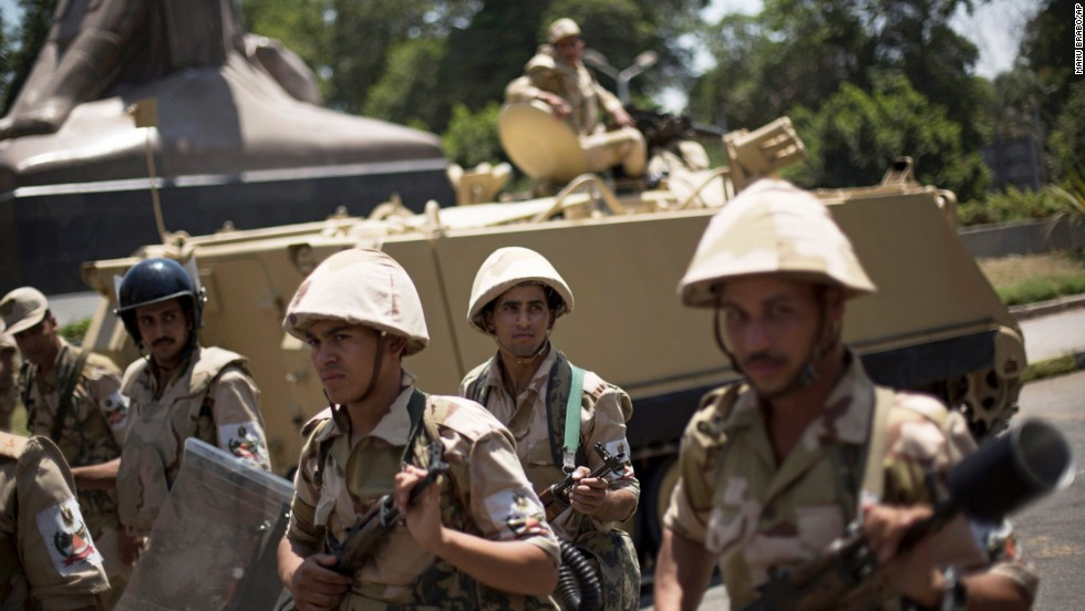 Egyptian soldiers deploy near Cairo University on July 4.