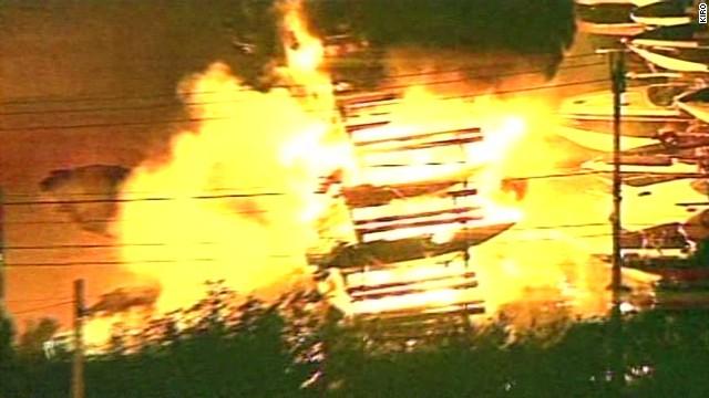See fireworks blaze engulf boat