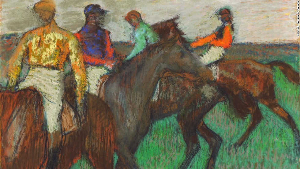 "Impressionist paint Edgar Degas was a huge admirer of the horse -- as seen with this work, ""Race Horses."""