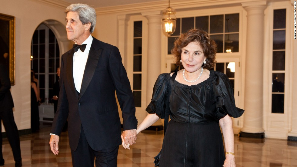 John Kerry accompanied his wife by ambulance to the hospital, Kerry's spokesman said.