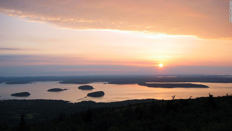 The tallest peak on Acadia's Mount Desert Island, Cadillac Mountain, is a popular place to watch the sun rise.